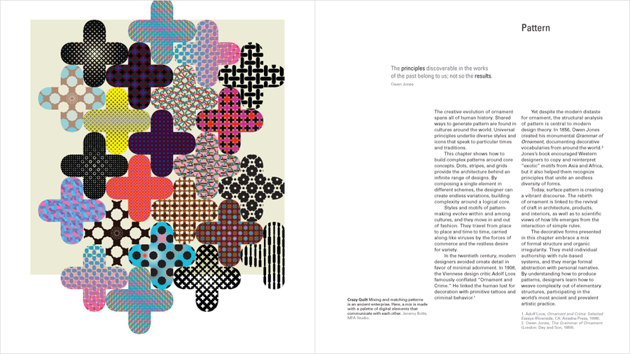 Patterns designed for textbook graphic design: the new basics